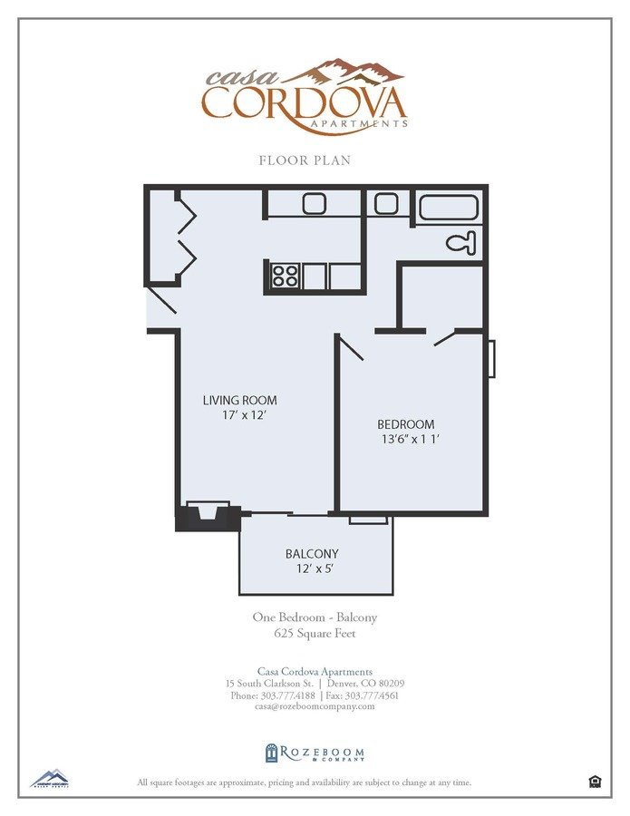 1 Bedroom 1 Bathroom Apartment for rent at Casa Cordova Apartments in Denver, CO