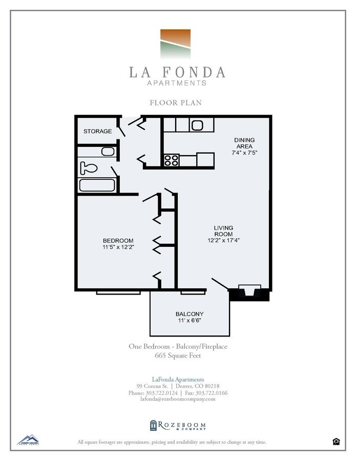 1 Bedroom 1 Bathroom Apartment for rent at La Fonda Apartments in Denver, CO