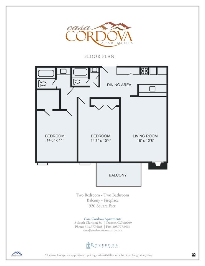 2 Bedrooms 2 Bathrooms Apartment for rent at Casa Cordova Apartments in Denver, CO