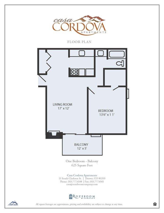 1 Bedroom 1 Bathroom Apartment for rent at Casa Cordova Apartments in Denver, CO
