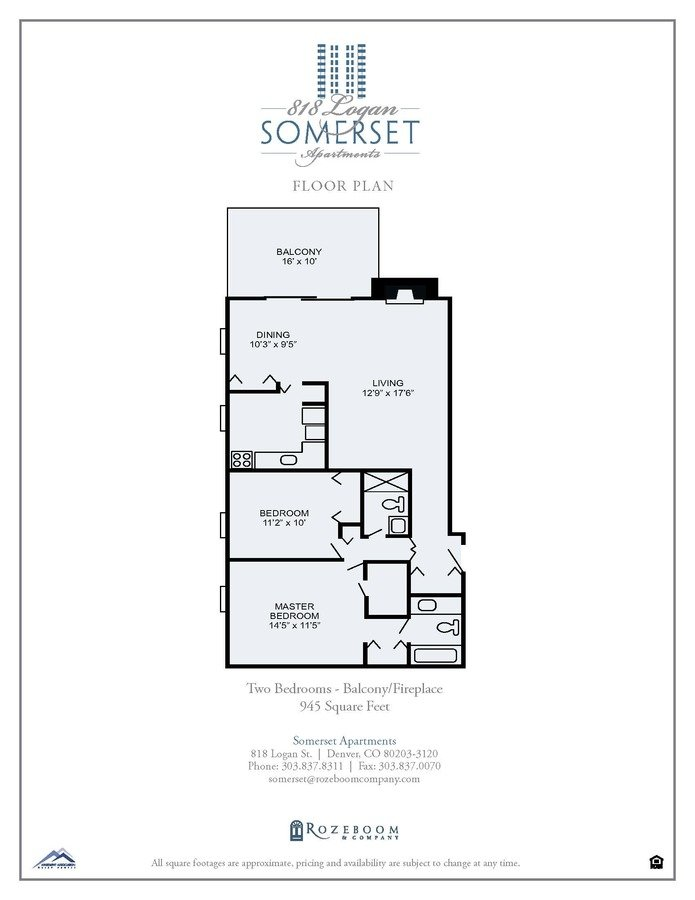 2 Bedrooms 2 Bathrooms Apartment for rent at Somerset Apartments in Denver, CO