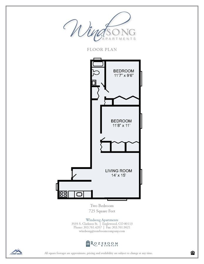 2 Bedrooms 1 Bathroom Apartment for rent at Windsong Apartments in Englewood, CO