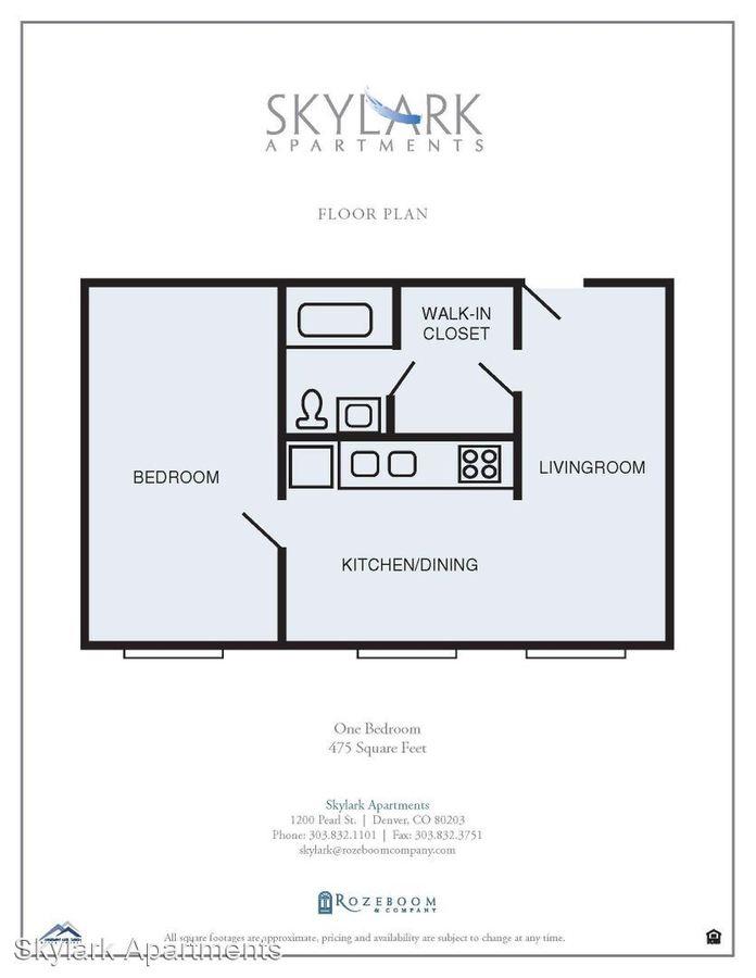 1 Bedroom 1 Bathroom Apartment for rent at Skylark Apartments in Denver, CO