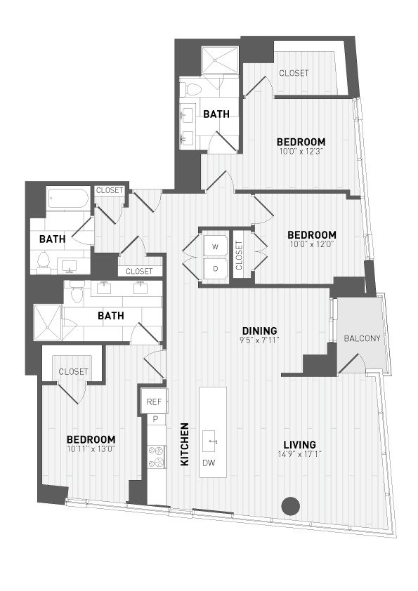 3 Bedrooms 3 Bathrooms Apartment for rent at 7seventy7 in Milwaukee, WI