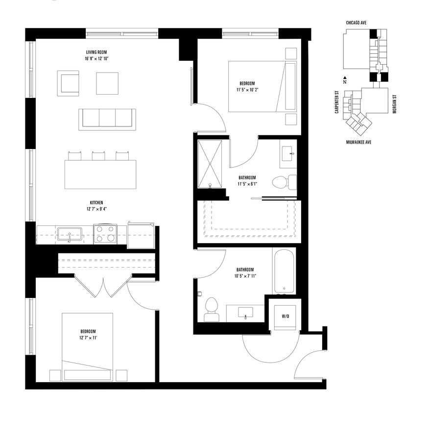 2 Bedrooms 2 Bathrooms Apartment for rent at Spoke in Chicago, IL