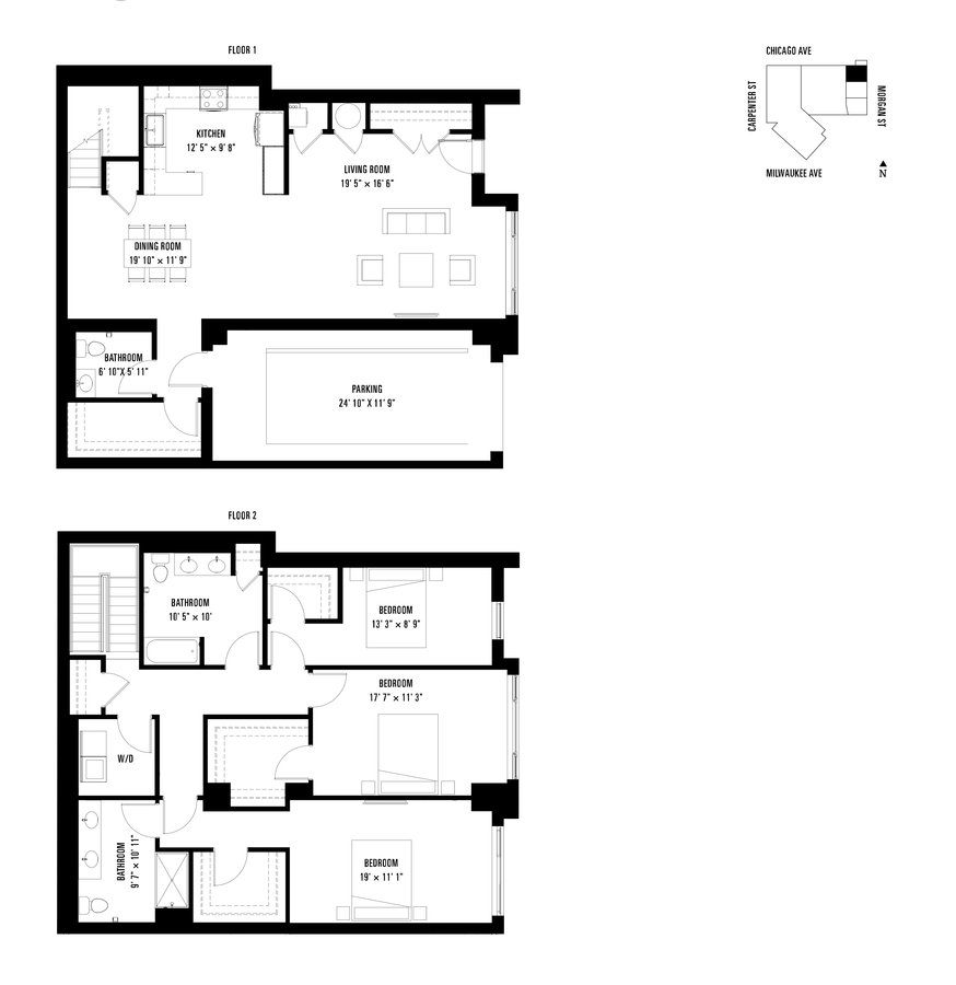 3 Bedrooms 2 Bathrooms Apartment for rent at Spoke in Chicago, IL