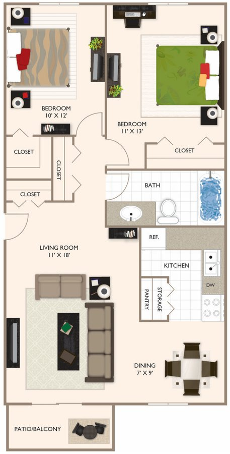 2 Bedrooms 1 Bathroom Apartment for rent at Brockton Apartments in Indianapolis, IN