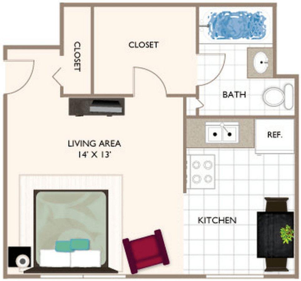Studio 1 Bathroom Apartment for rent at Brockton Apartments in Indianapolis, IN