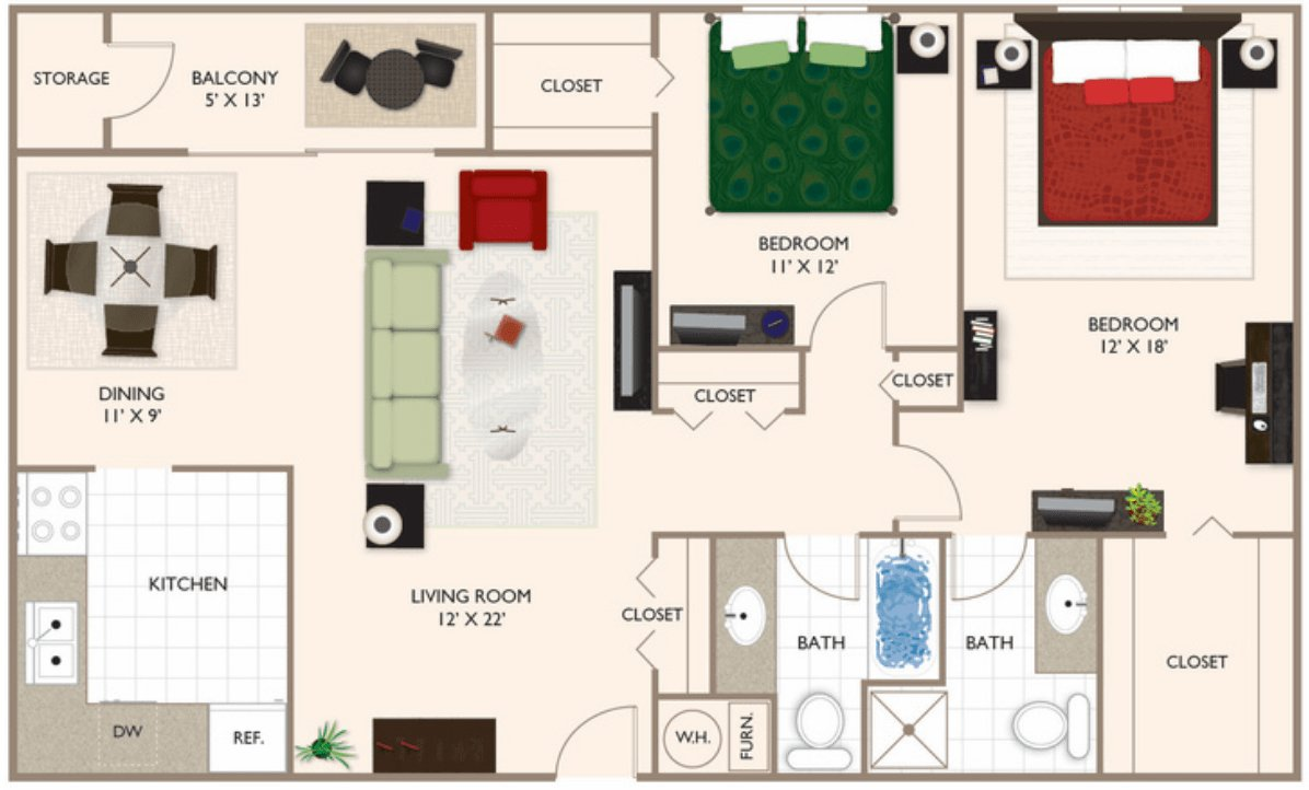 2 Bedrooms 2 Bathrooms Apartment for rent at Brockton Apartments in Indianapolis, IN