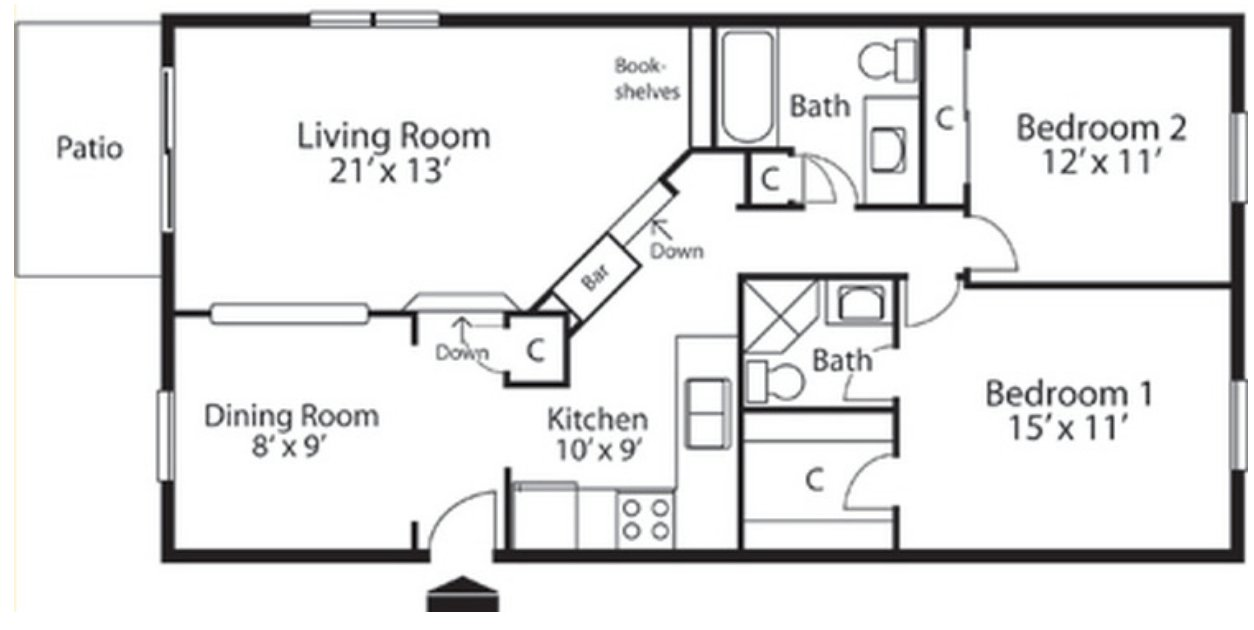 2 Bedrooms 2 Bathrooms Apartment for rent at Landmark Apartments in Indianapolis, IN