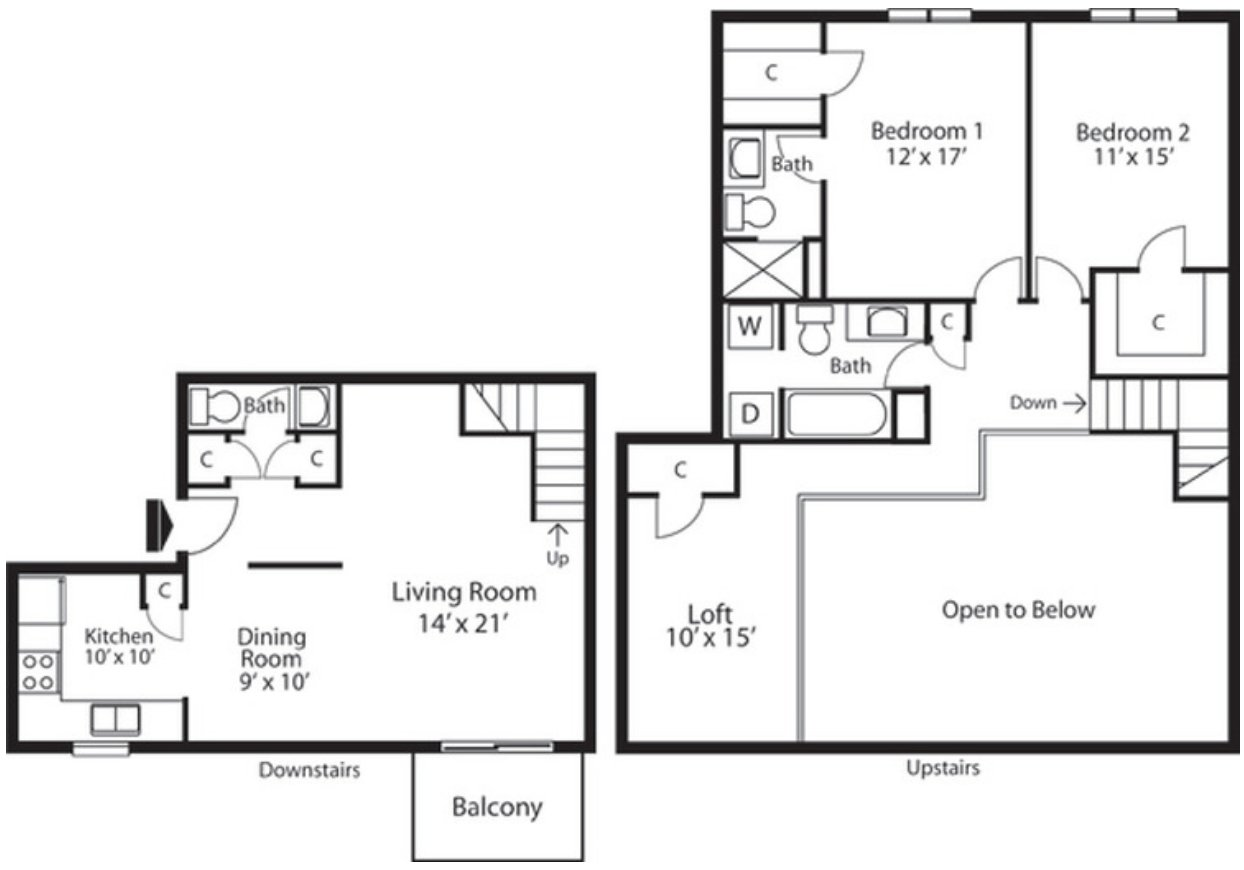2 Bedrooms 3 Bathrooms Apartment for rent at Landmark Apartments in Indianapolis, IN
