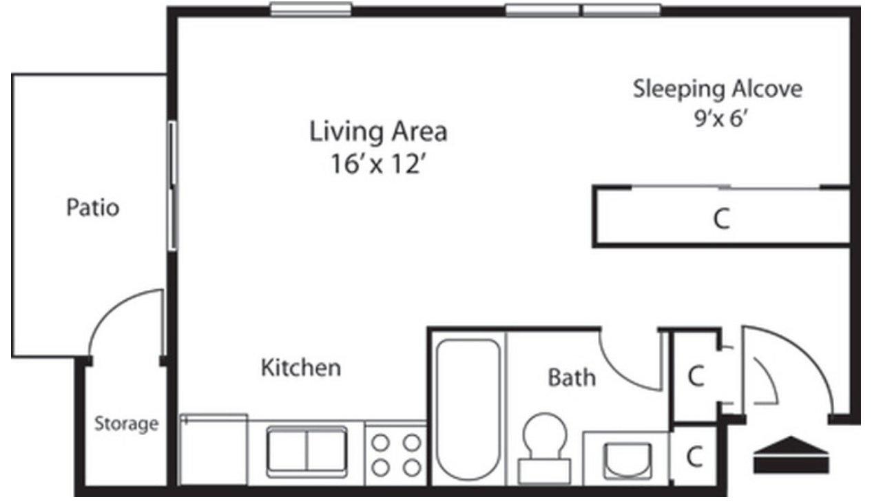 Studio 1 Bathroom Apartment for rent at Landmark Apartments in Indianapolis, IN