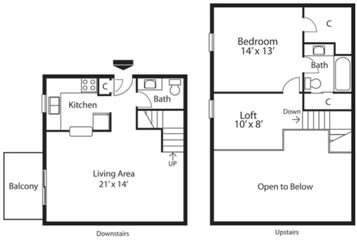 1 Bedroom 2 Bathrooms Apartment for rent at Landmark Apartments in Indianapolis, IN