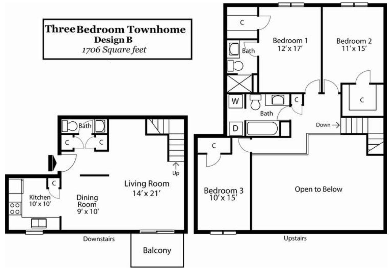3 Bedrooms 3 Bathrooms Apartment for rent at Landmark Apartments in Indianapolis, IN