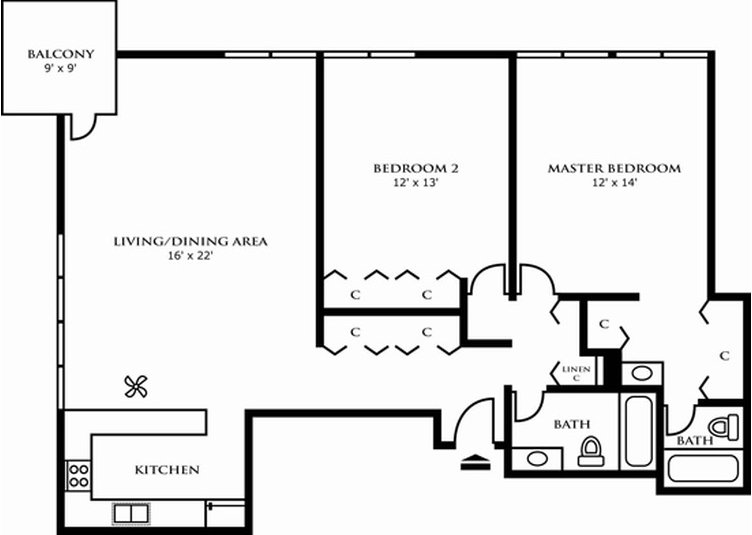 2 Bedrooms 2 Bathrooms Apartment for rent at Riley Towers Apartments in Indianapolis, IN
