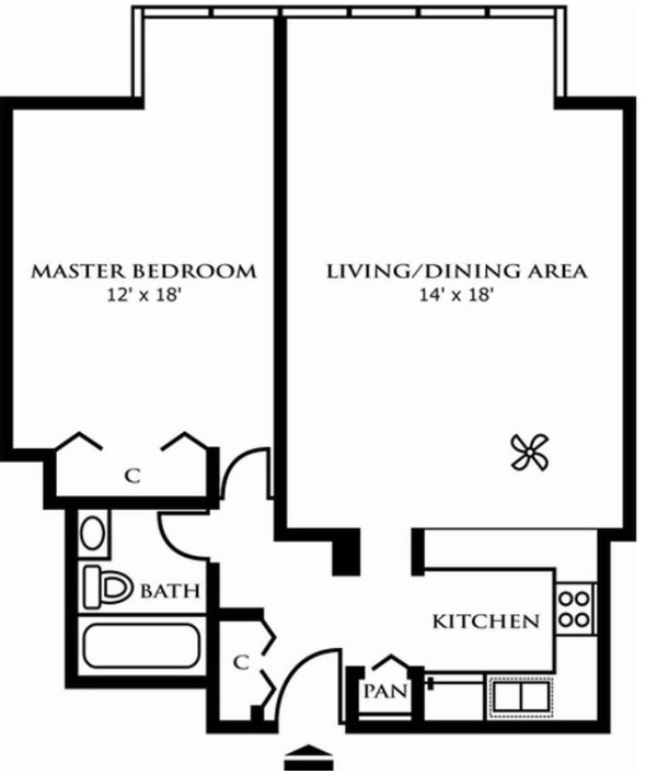 1 Bedroom 1 Bathroom Apartment for rent at Riley Towers Apartments in Indianapolis, IN