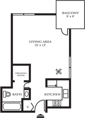 Studio 1 Bathroom Apartment for rent at Riley Towers Apartments in Indianapolis, IN