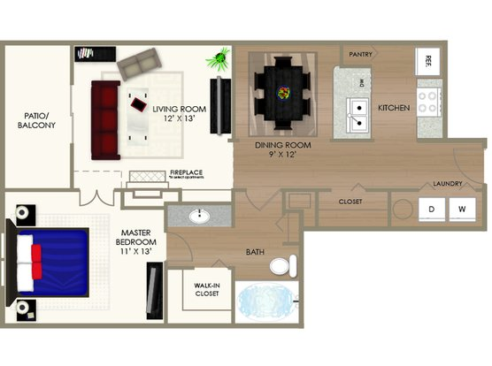 1 Bedroom 1 Bathroom Apartment for rent at River Crossing Apartments in Indianapolis, IN