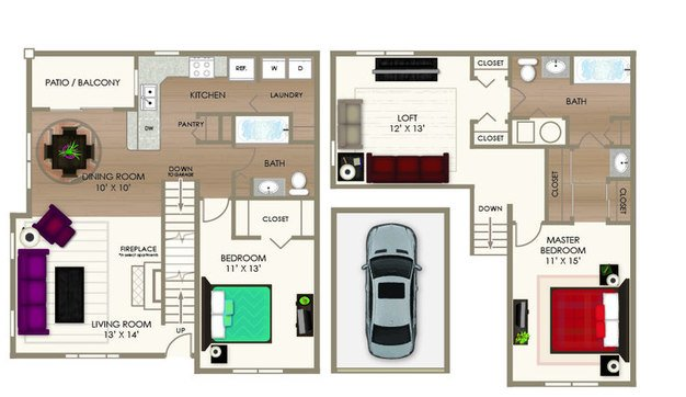 2 Bedrooms 2 Bathrooms Apartment for rent at River Crossing Apartments in Indianapolis, IN