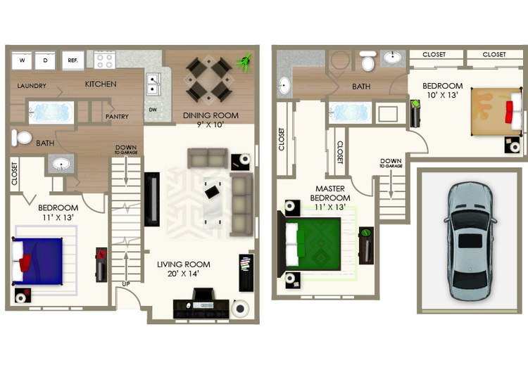 3 Bedrooms 2 Bathrooms Apartment for rent at River Crossing Apartments in Indianapolis, IN