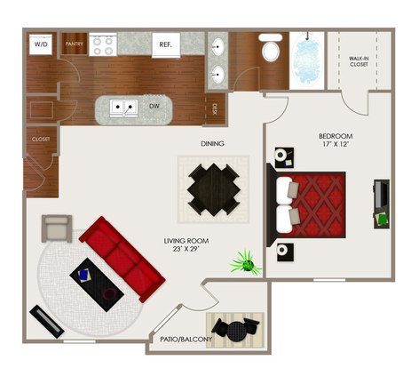 1 Bedroom 1 Bathroom Apartment for rent at River Ridge Apartments in Indianapolis, IN