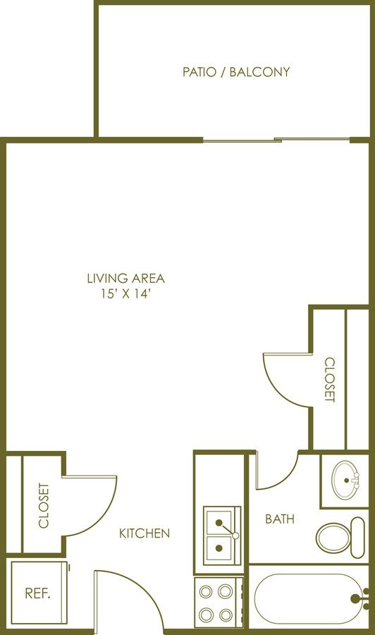 Studio 1 Bathroom Apartment for rent at Turtle Creek Apartments in Indianapolis, IN