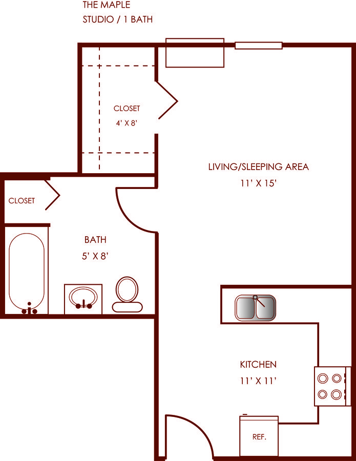 Studio 1 Bathroom Apartment for rent at Kenwood in Indianapolis, IN