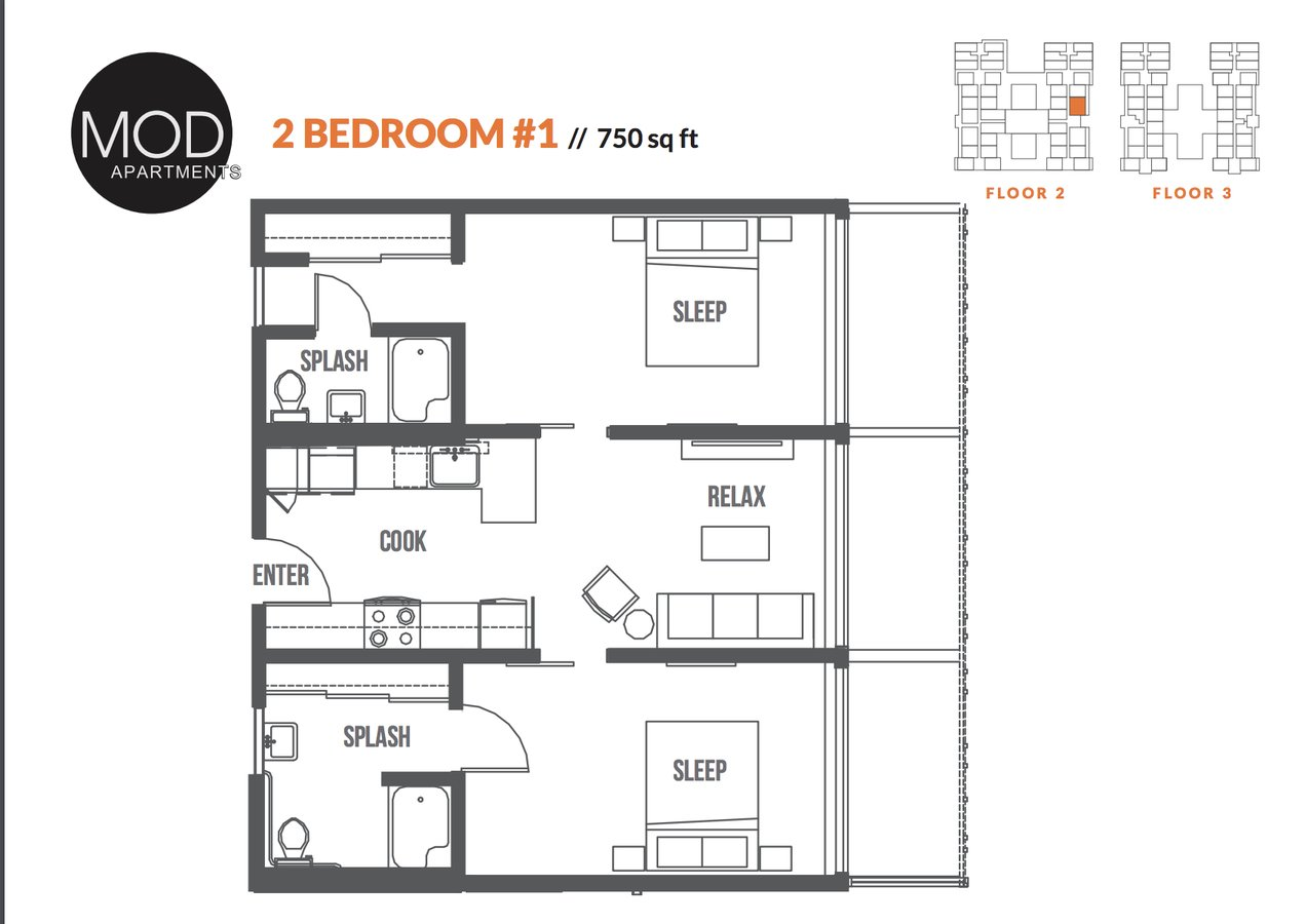 2 Bedrooms 2 Bathrooms Apartment for rent at Mod Apartments in Seattle, WA