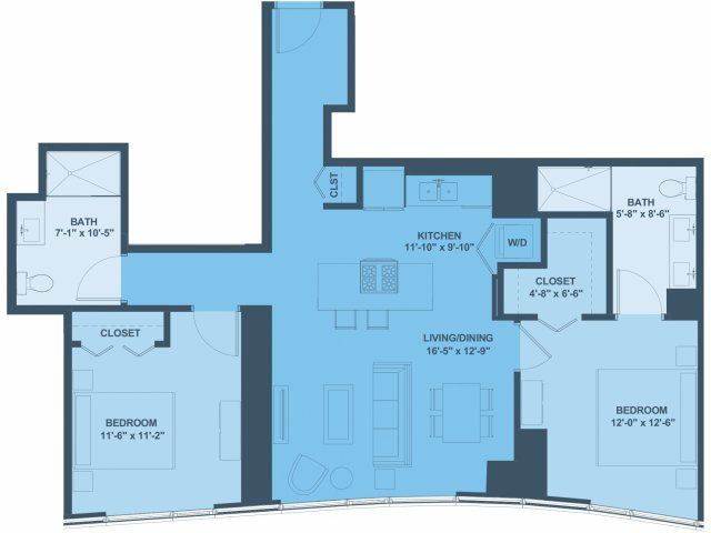 2 Bedrooms 2 Bathrooms Apartment for rent at 1001 South State in Chicago, IL