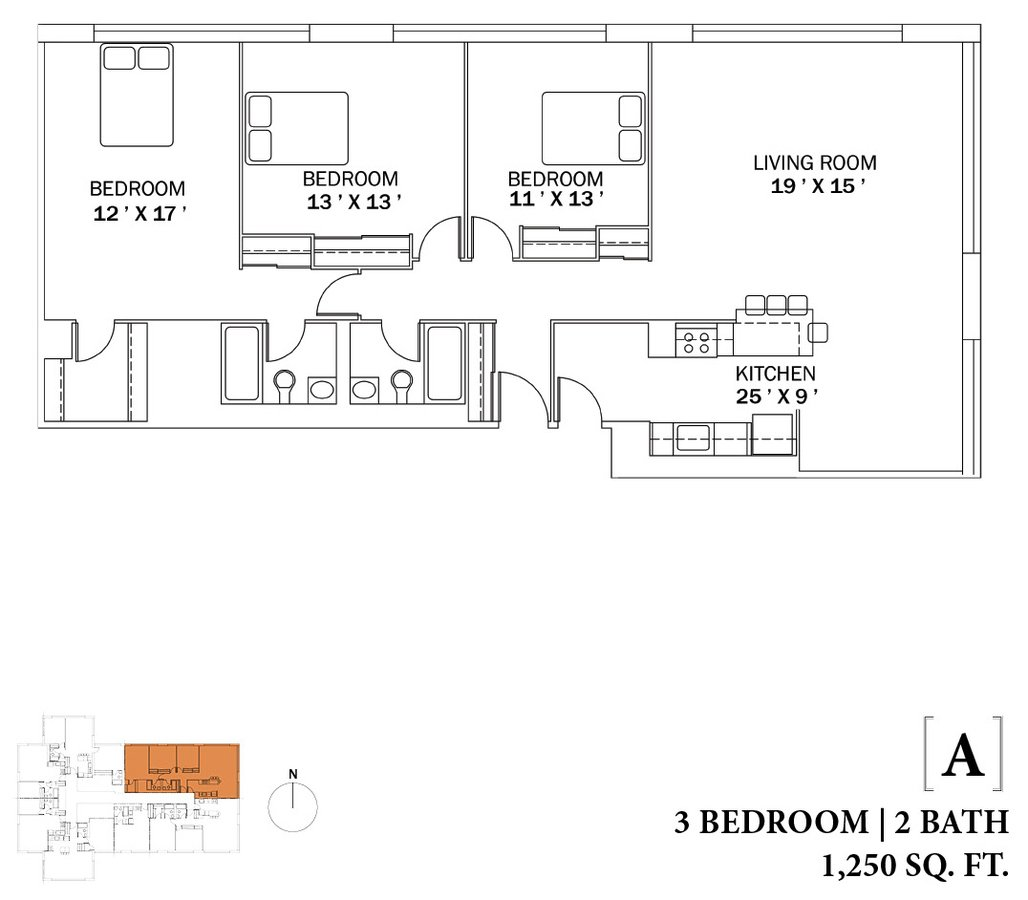 3 Bedrooms 2 Bathrooms Apartment for rent at The Bryn in Chicago, IL