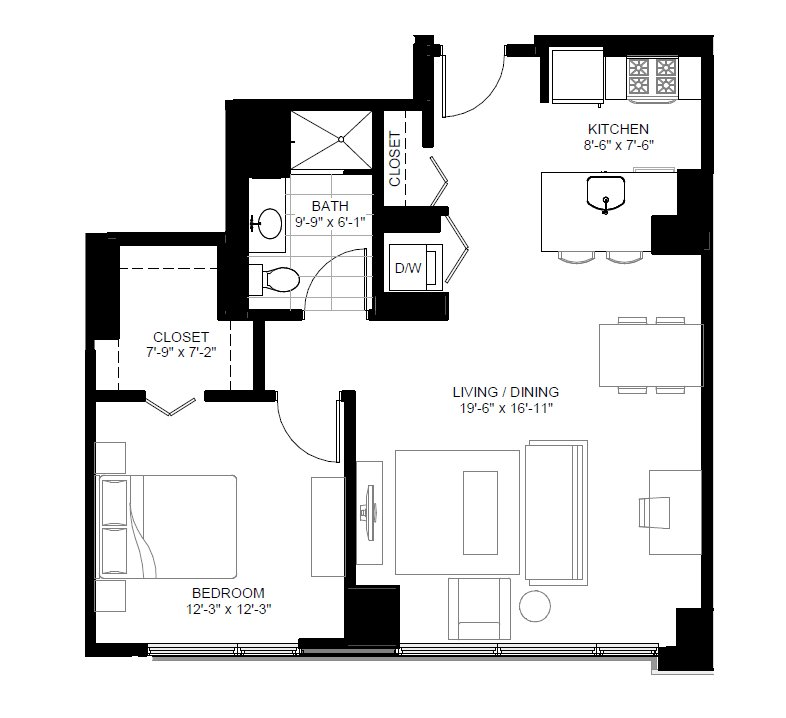 1 Bedroom 1 Bathroom Apartment for rent at Marquee At Block 37 in Chicago, IL