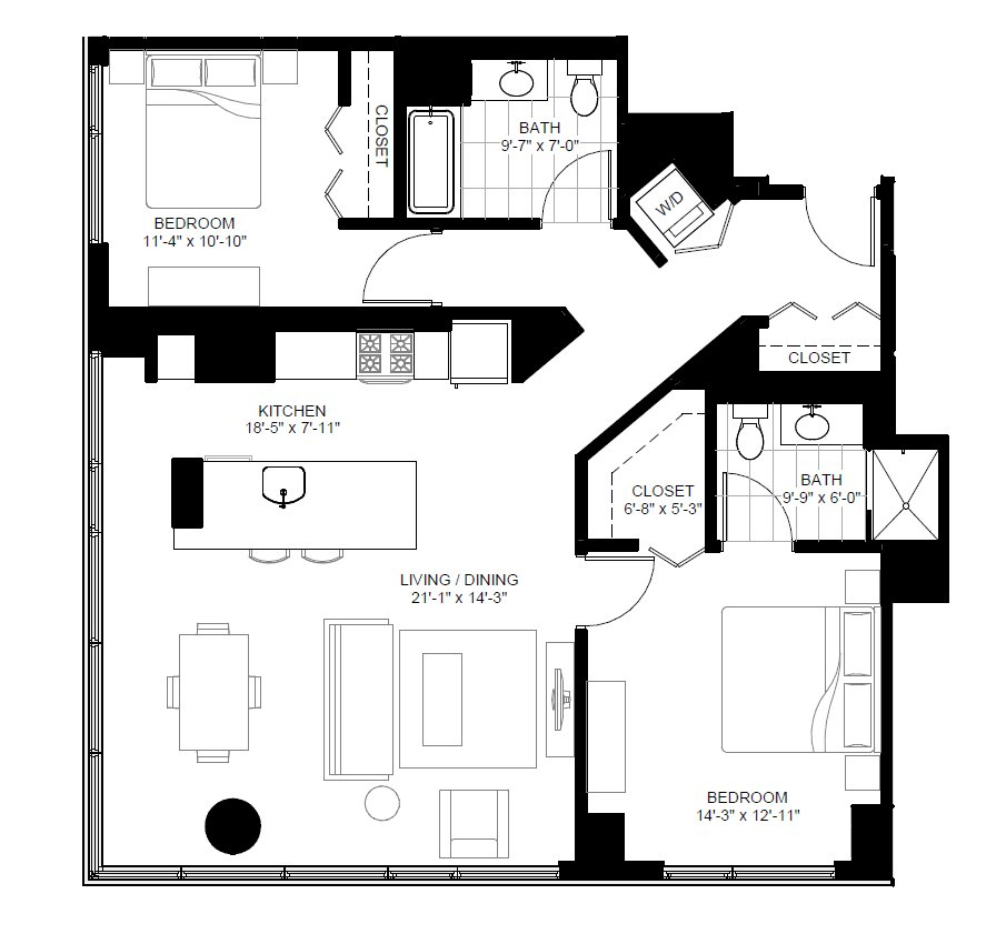 2 Bedrooms 2 Bathrooms Apartment for rent at Marquee At Block 37 in Chicago, IL