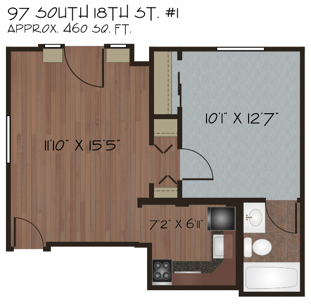 1 Bedroom 1 Bathroom Apartment for rent at Live South Side in Pittsburgh, PA
