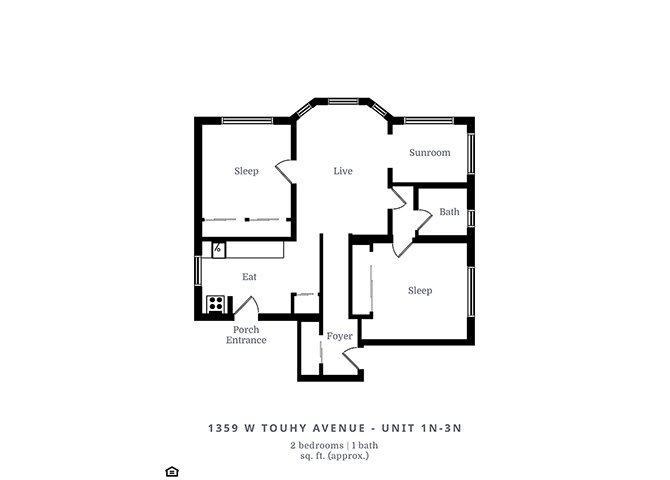 2 Bedrooms 1 Bathroom Apartment for rent at 1351 W. Touhy Ave. in Chicago, IL