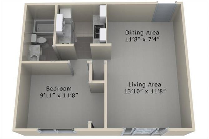 1 Bedroom 1 Bathroom Apartment for rent at The Village At Westchester in Des Moines, IA