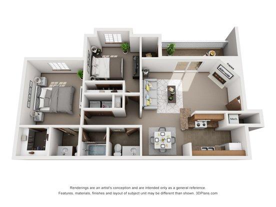 2 Bedrooms 1 Bathroom Apartment for rent at Tregaron Oaks in Bellevue, NE