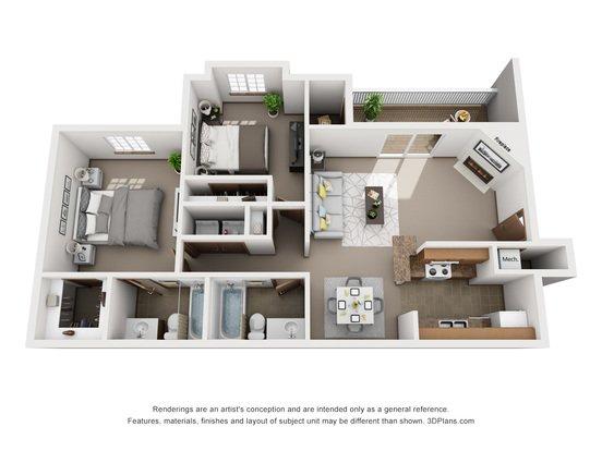 2 Bedrooms 2 Bathrooms Apartment for rent at Tregaron Oaks in Bellevue, NE