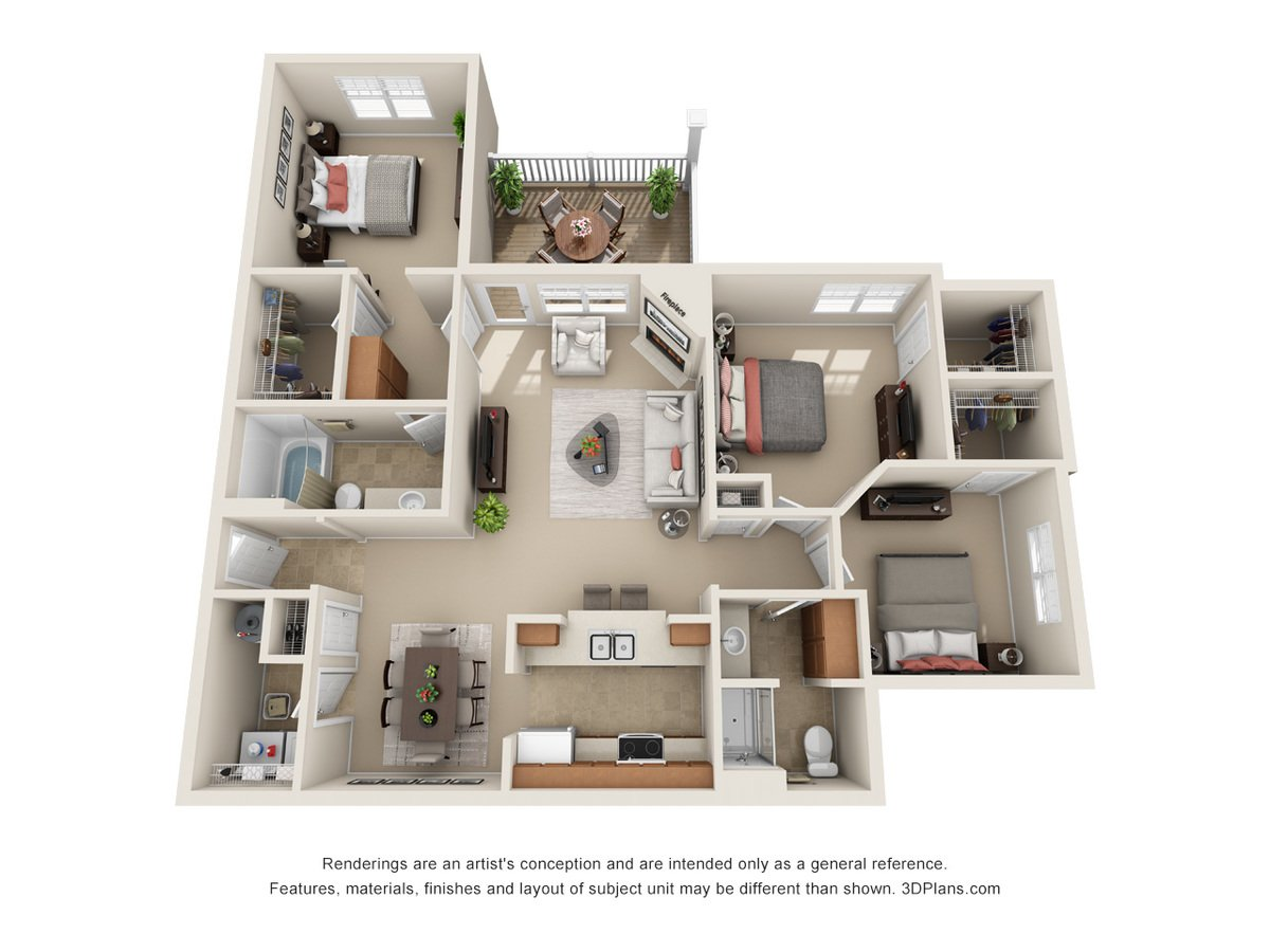 3 Bedrooms 2 Bathrooms Apartment for rent at Mansions At Jordan Creek in West Des Moines, IA