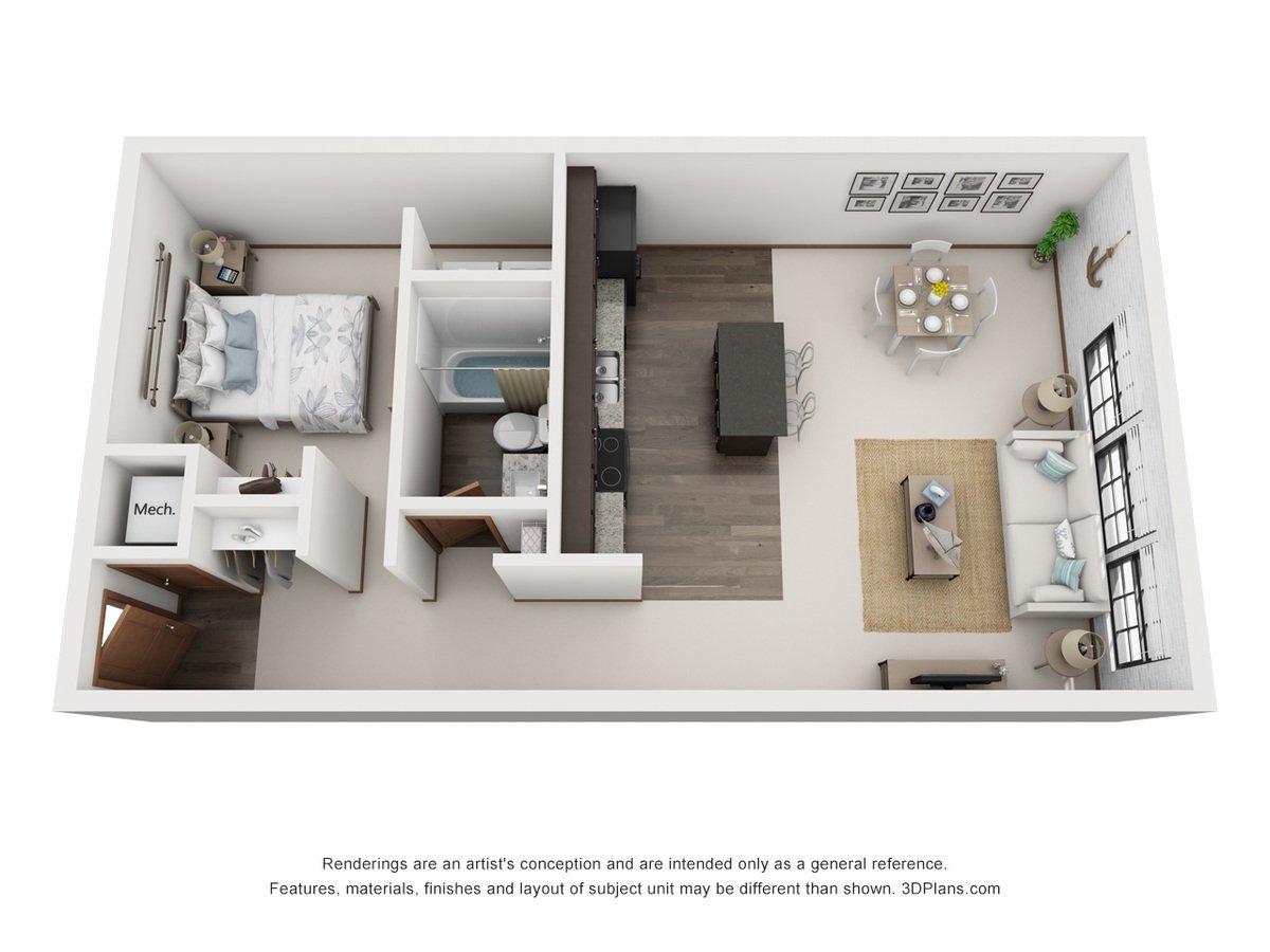 1 Bedroom 1 Bathroom Apartment for rent at Skinner Macaroni Lofts in Omaha, NE