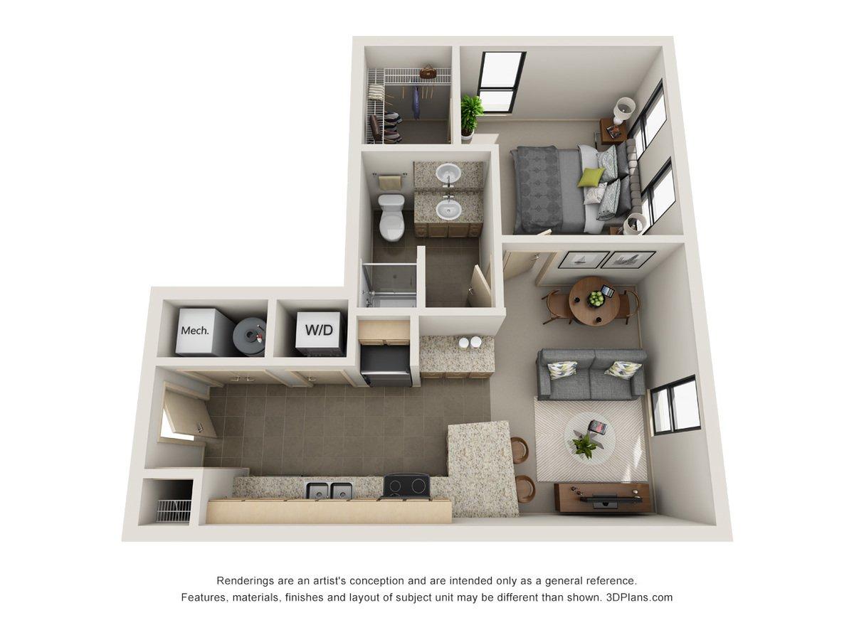 1 Bedroom 1 Bathroom Apartment for rent at L14 Flats in Omaha, NE