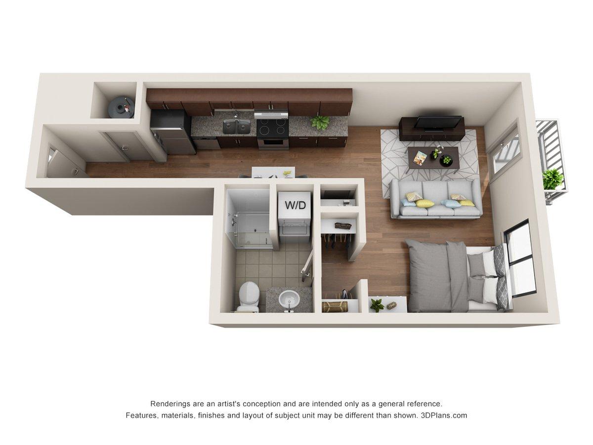 Studio 1 Bathroom Apartment for rent at Jones 13 in Omaha, NE
