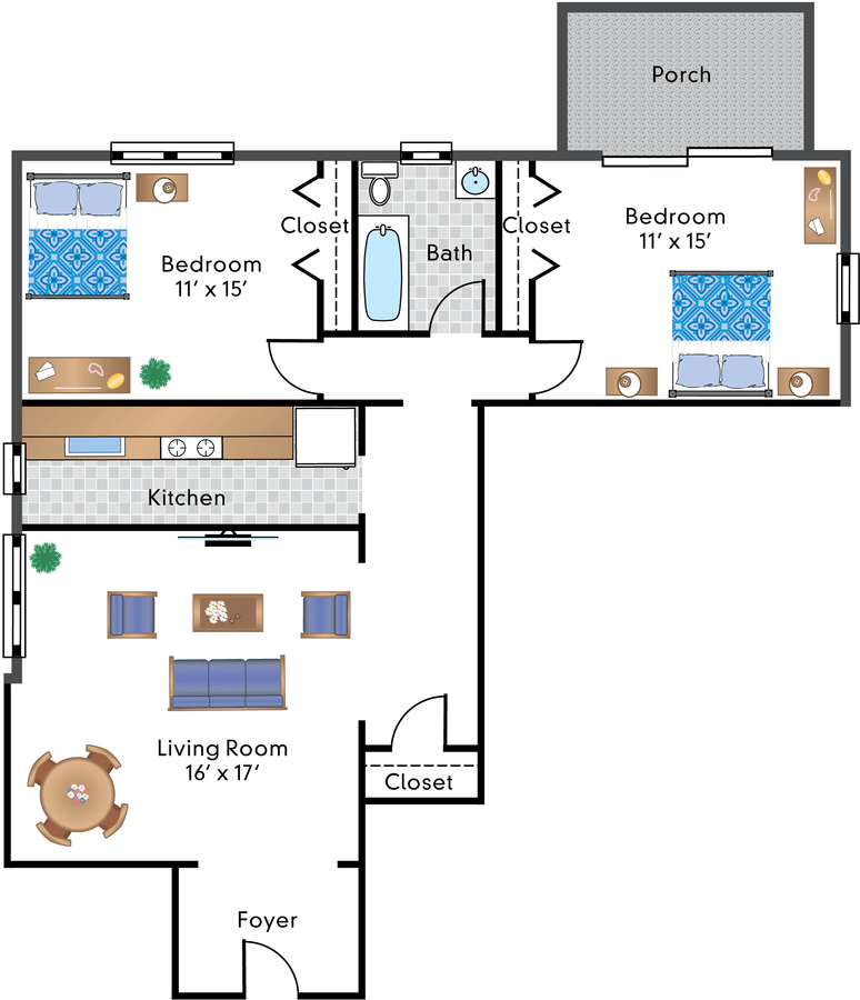 2 Bedrooms 1 Bathroom Apartment for rent at The Rodman in Washington, DC