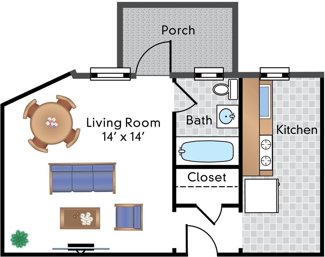 Studio 1 Bathroom Apartment for rent at The Rodman in Washington, DC