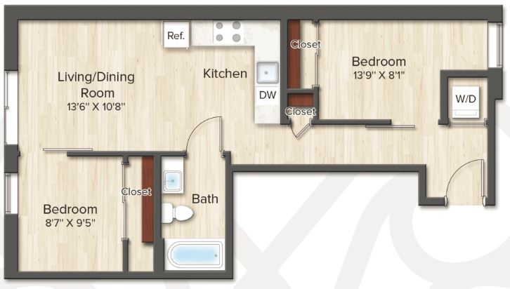 2 Bedrooms 1 Bathroom Apartment for rent at The Vintage On 16th St. Dc in Washington, DC