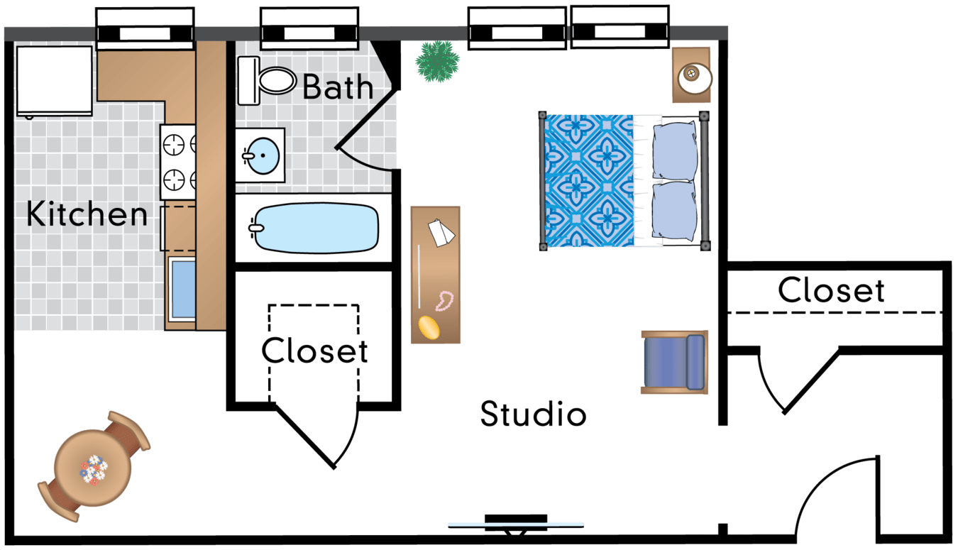 Studio 1 Bathroom Apartment for rent at Parkway Apartments in Washington, DC