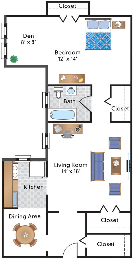 1 Bedroom 1 Bathroom Apartment for rent at Sedgwick Gardens in Washington, DC