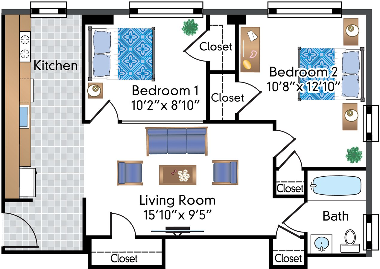 2 Bedrooms 1 Bathroom Apartment for rent at The Parkwest in Washington, DC