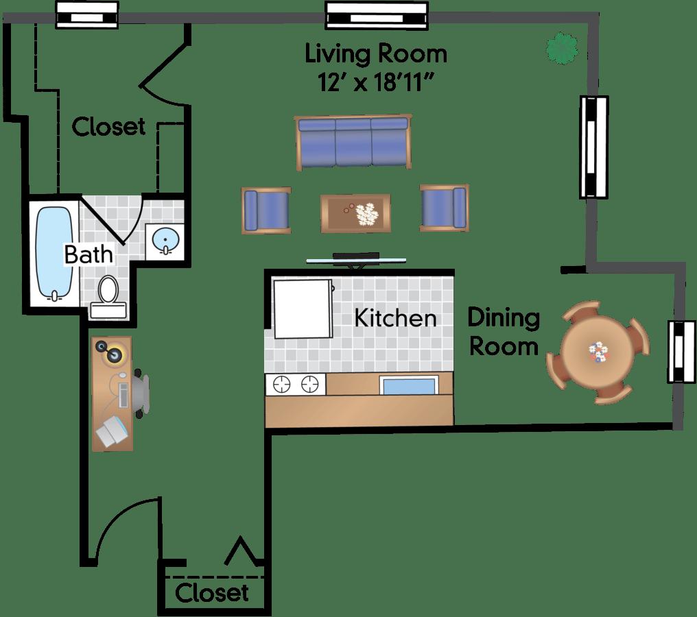 Studio 1 Bathroom Apartment for rent at 1900 Lamont in Washington, DC