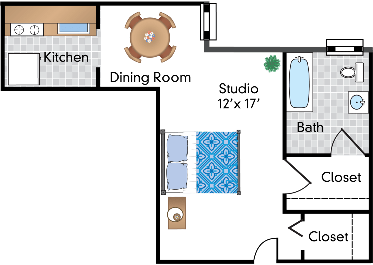 Studio 1 Bathroom Apartment for rent at The Parkwest in Washington, DC