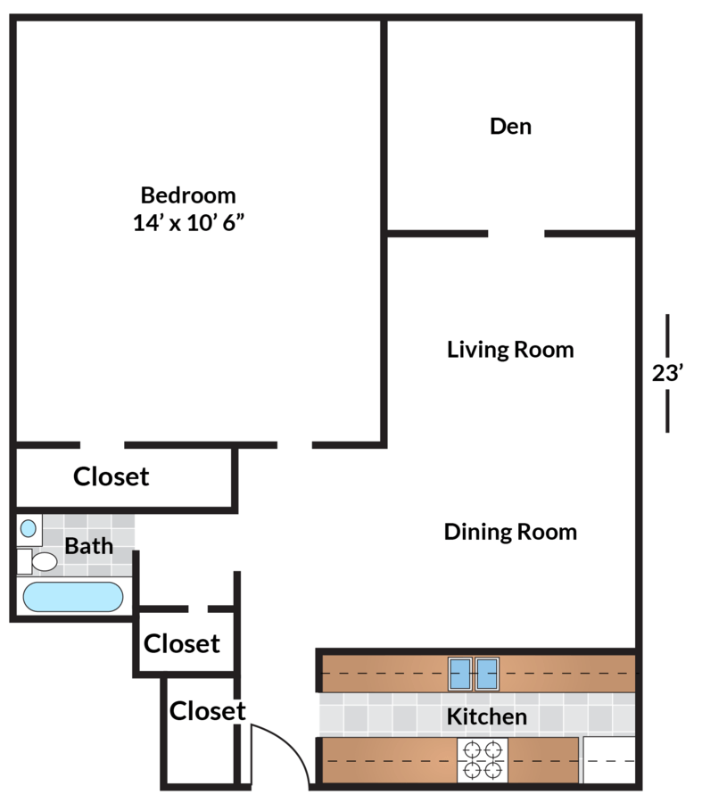 2 Bedrooms 1 Bathroom Apartment for rent at Circle Arms in Washington, DC